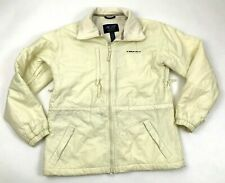 AE77 Performance Gear Womens Jacket Off White Fleece Lined Cinched Waist Size S