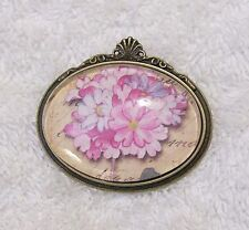 New Brooch Pin Brass Tone Frame Pink Flowers Yellow Background Blossoms Grow Jn1