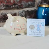 First Piggy Bank Money Box Baby Boy Girl Gift Present Christening Sixpence Card