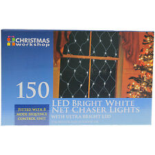 150 WHITE INDOOR OUTDOOR NET CHASER CHRISTMAS XMAS LIGHTS WITH ULTRA BRIGHT LED