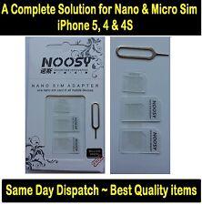 FITS IPHONE & IPAD NANO MICRO MINI, SIM CARD ADAPTER, CONVERTER TO STANDARD SIM