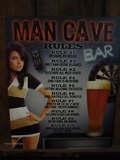 "*USA MADE METAL DECOR* MANCAVE RULES beer tavern pub bar 16"" x 12-1/2"""