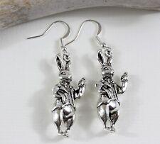White Rabbit Charm Earrings- Dangle Drop Silver tone Jewellery Alice Wonderland