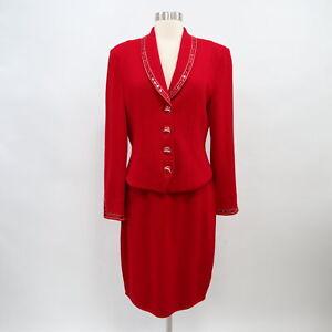 ST. JOHN Skirt Suit Blazer Set Santana Knit Womens 8 Red Sequins Holiday Party
