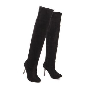 Women Suede Pull On Stilettos Over The Knee High Boots Slouchy High Heel Shoes