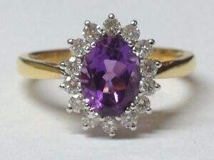 Amethyst and Diamond cluster  ring 18ct yellow gold rrp £1495
