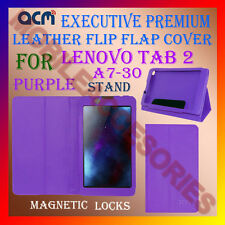 ACM-EXECUTIVE LEATHER FLIP CASE for LENOVO TAB 2 A7-30 TAB COVER STAND - PURPLE