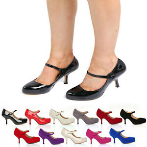 WOMENS LADIES STRAP MID HEEL CASUAL SMART WORK PUMP COURT SHOES SIZE 3-8