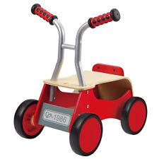 Hape Little Red Rider Wooden Toddler & Kid's Safe 4 Wheel Ride on or Push Bike