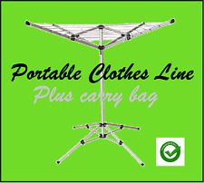 New Rotary Portable Camping Clothes Line Airer Dryer Clothesline -Free Carry Bag