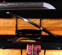 High Quality Folded Clay Tempered Shirasaya Full Tang Japanese Wakizashi Sword