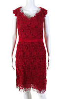 Liancarlo Womens Lace Cap Sleeve Cocktail Dress Ruby Red Size 14