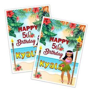 HAWAIIAN PARTY HAPPY BIRTHDAY CARD GIRLS BOYS KIDS ANY AGE