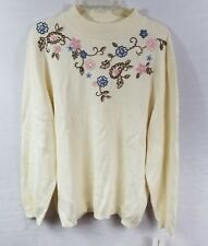 Alfred Dunner Pullover Sweater Plus Size 3X Mock Turtleneck Ivory Floral NWT