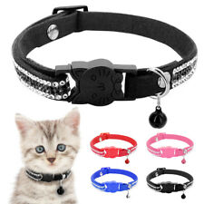 Rhinestone Breakaway Cat Collar with Bell Quick Release Adjustable for Pet Puppy