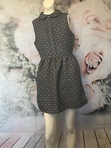 Ally black white fit flare dress size 10 womens