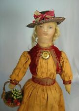 "Antique 19th c Oil Paint Face Cloth Rag Doll 19"" Wig Folk Art Charming!"