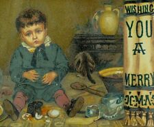 1870's-80's Lovely Boy Making A Mess Wishing Merry Christmas Victorian Card *B