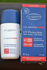 Clarins Men UV Protection Non Gras / Oil-Free SPF 20 BNIB 30ml/1fl.oz. UVA-UVB