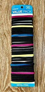 36 Count Conair Flat Elastic Ponytail Hair Ties Metal Free Black Pink Blue