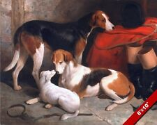 FOX HOUNDS AND TERRIER HUNTING DOGS AT REST OIL PAINTING ART REAL CANVAS PRINT