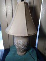 Vintage Ivory Bisque Floral Applique Ceramic Table Lamp