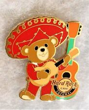 HARD ROCK CAFE COZUMEL MEXICO MARIACHI BEAR WEARING RED WITH GUITAR PIN # 95698