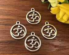 6pcs Om Symbol Tibetan Silver Bead charms Pendants DIY jewelry 20x17mm J136