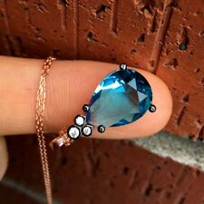 Drop Turquoise Topaz Necklace Silver 925 Rose-White-Turquoise CZ Pendant & Chain