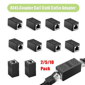RJ45 Coupler Cat7/Cat6/Cat5e Ethernet Network Cable Extender Connector 2-10 Pack