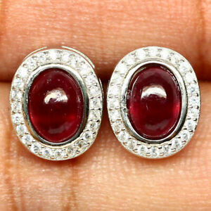 NATURAL 5 X 7mm. OVAL CABOCHON RED RUBY & WHITE CZ EARRINGS 925 SILVER STERLING