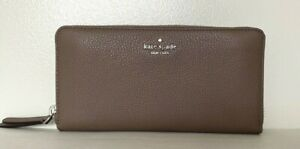 New Kate Spade New York Jackson Large Continental wallet Leather Brown Stone