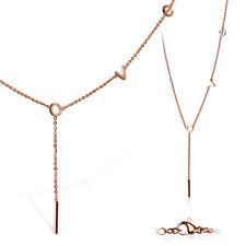 Mujer Collar de acero inoxidable y Colgante Logo LOVE AMOR ORO ROSA REGALO