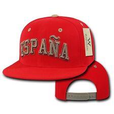 Red Spain España Soccer Flat Bill Snapback Baseball Spanish World Cup Hat Cap