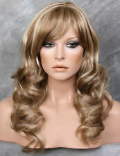Long Open Curly/wavy Layered Blonde Brown mix  Wig w. bangs jsbc 12-24B-613