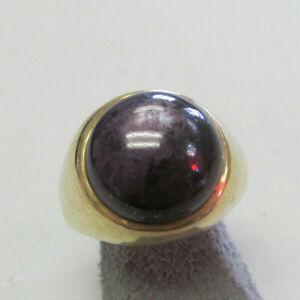 Estate Unisex Purple Cabochon Corundum Pinky Ring 14k Gold  Size 7.5 Make Offer