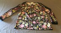 3.1 Phillip Lim black floral print silk Cold Shoulder blouse top size 6