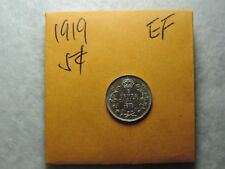 1919 5 Cent Coin Canada King George V Five cents .925 Silver EF Grade