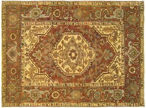Antique Traditional Geometric Oriental Rug,in Small Square Size