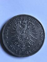German 1889E Saxony Albertine Funf Mark 36000 Only Mintage Scarce 5 Mark Coin