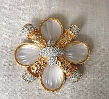 1970's Kenneth Lane Gold Tone Frosted Fluted Crystal & Rhinestone Maltese Brooch