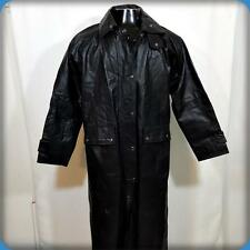 HOT LEATHERS Trench Coat Long Heavy Leather Spy Jacket Mens XS/S Black w/ liner