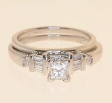 platinum .55ct diamond engagement ring wedding band set princess estate 8.6g