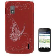Hardcase Butterfly Pattern für LG E960 Google Nexus 4 in rot Etui Schutzhülle