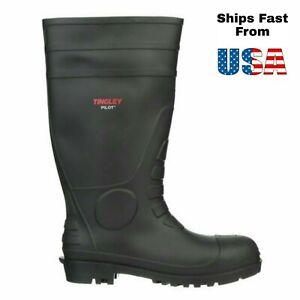 """Men's Tingley Pilot 31151 Black PVC Rubber 15"""" Knee Plain Toe Work Boots Size 11"""
