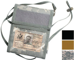 Tactical ID Badge Holder Military Neck Strap Photo Tri Fold Wallet with Lanyard