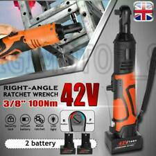 42V 3/8'' 100Nm Electric Cordless Ratchet Wrench 90° Right Angle&2 Battery Kit G