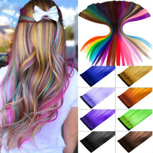 Hot Sale Synthetic Color Hair Piece Extension Clip In Highlight Rainbow Streak