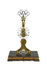 Fusee Drive Scissors Pendulum Brass Skeleton Clock - It has 2 Swinging Pendulums