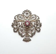 Georgian Gold Silver Ruby Diamond Brooch for restoration